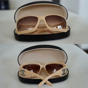 CHANEL Beige Mother of Pearl Sunglasses